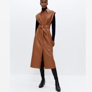 UTERQUE SHEEP LEATHER BELTED DRESS